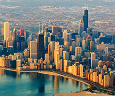 Picture of Chicago skyline from above