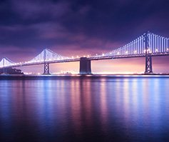 Picture of Golden Gate Bridge at nighttime