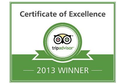 TripAdvisor 2013 Certificate of Excellence