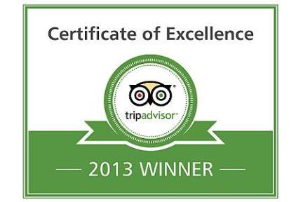 TripAdvisor 2013 Certificate of Excellence
