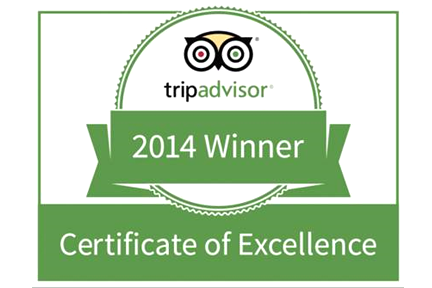 Our hotel is in the top 10% of all hotels on TripAdvisor for 2014!
