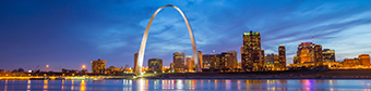 Picture of St. Louis Sky Line Night with Silver Arc Statue in Foreground